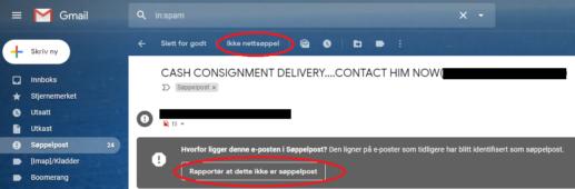Gmail: fjern epost fra søppelpost